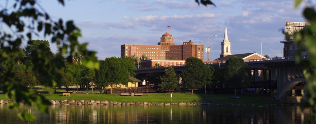 Riverside view of Rockford, Illinois