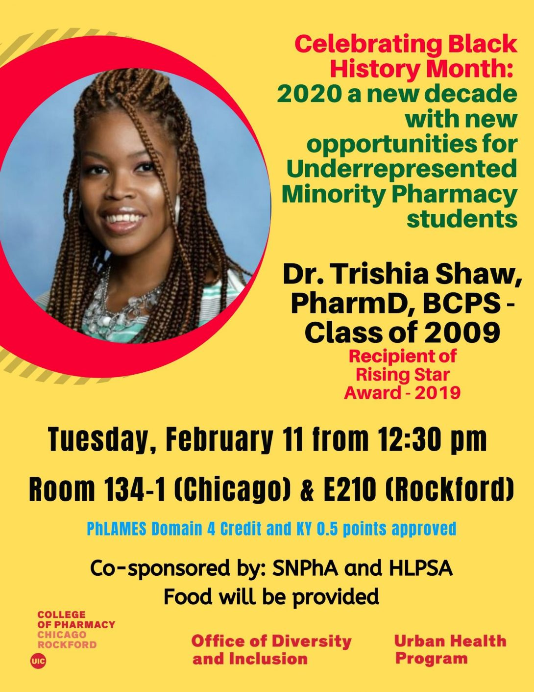 UIC COP celebrating Black History Month 2020 with Dr. Trishia Shaw event