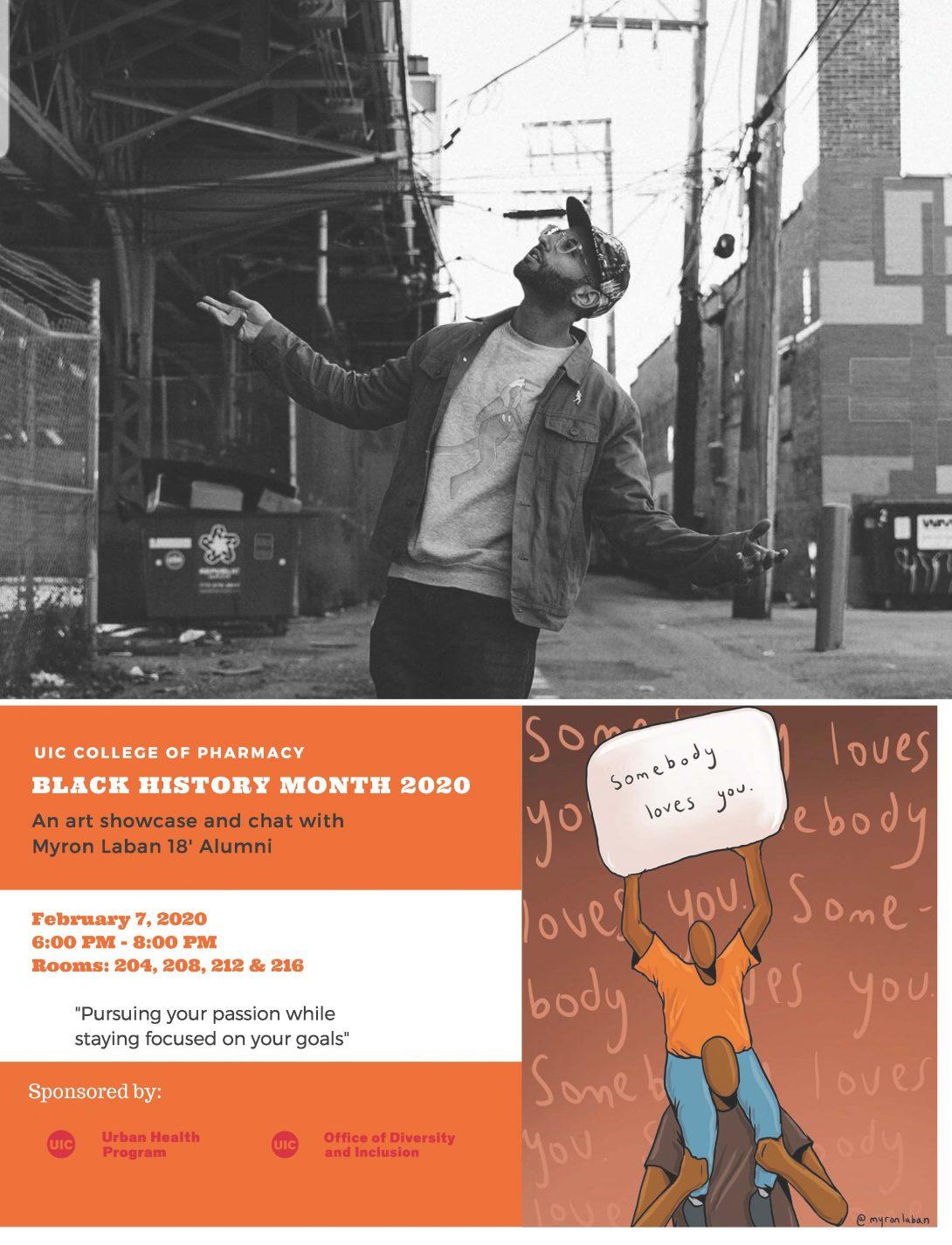 UIC COP Black History Month 2020 art showcase flyer